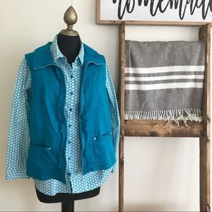 Christopher & Banks Teal Button Down and Vest Set